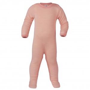 Engel Wollen Pyjama met voetjes Roze gestreept (maat 50-56)
