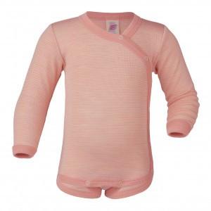 Engel Wollen Body Overslag Roze gestreept (maat 74-80)