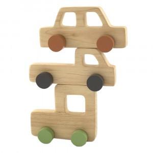 Pinch Toys Houten Set Mini 80's Auto's Gekleurde Wielen