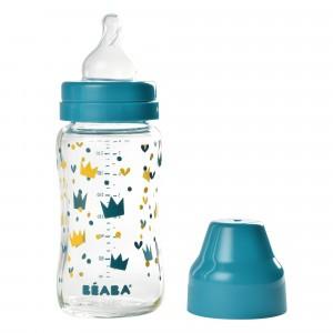 Beaba Glazen Babyfles 240 ml Kroon Blauw