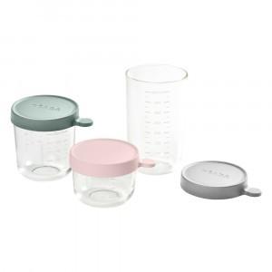 Beaba Glazen Bewaarpotjes - 3 stuks (150 ml + 250 ml + 400 ml) Roze/Eucalyptus/Mistgrijs