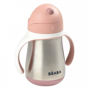 Beaba RVS Drinkbeker met rietje (250 ml) Old Pink