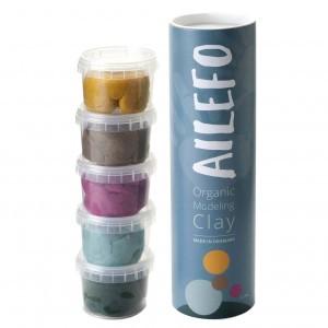 Ailefo Organische Speelklei 5 kleuren: Turquoise, Bruin, Geel, Roze en Groen (5x100g)