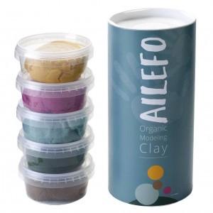 Ailefo Organische Speelklei 5 kleuren: Turquoise, Bruin, Geel, Roze en Groen (5x160g)