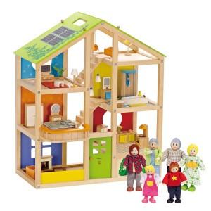 Hape Voordeelpakket Poppenhuis All Season Gemeubileerd (inclusief accessoires) met Familie