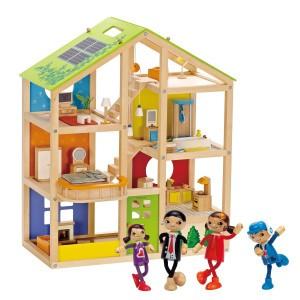 Hape Voordeelpakket Poppenhuis All Season Gemeubileerd (inclusief accessoires) met Moderne Familie
