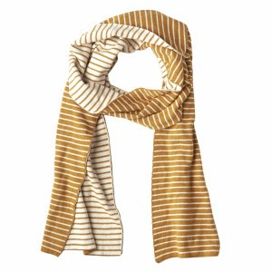 Mundo Melocoton Sjaal Organic Knitwear Stripes La Linea Cinnamon (Kind)