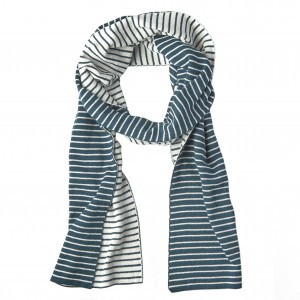 Mundo Melocoton Sjaal Organic Knitwear Stripes La Linea Teal + Offwhite (Kind)