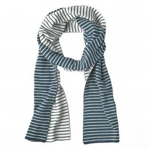Mundo Melocoton Sjaal Organic Knitwear Stripes La Linea Teal + Offwhite (Mom)