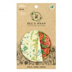 Bee's Wrap Vegan Herbruikbare Food Wrap Vershoudfolie Starter Set 'Herb Garden' (Small, Medium, Large)