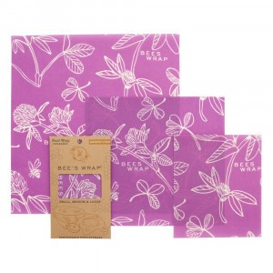 Bee's Wrap Herbruikbare Food Wrap Bijenwasfolie Starter Set 'Mimi's Purple' (Small, Medium, Large)