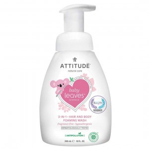 Attitude Baby Leaves 2-in-1 Shampoo & Body Wash Fragrance Free (295 ml)