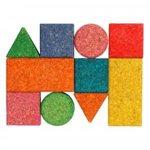 Korxx Kurk Blokken Baby - 10 gekleurde blokken