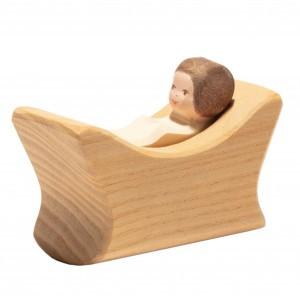 Ostheimer Houten Speelfiguur Baby in Wiegje (lengte 8 cm)