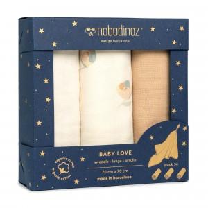 Nobodinoz Tetradoek (3-pack) Baby Love Swaddles Blossom