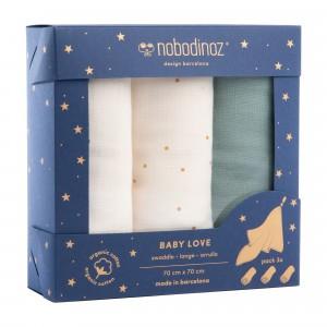 Nobodinoz Tetradoek (3-pack) Baby Love Swaddles Green