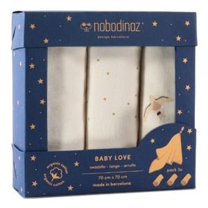 Nobodinoz Tetradoek (3-pack) Baby Love Swaddles Natural