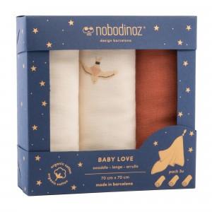 Nobodinoz Tetradoek (3-pack) Baby Love Swaddles Toffee