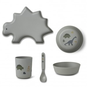 Liewood Bamboe Servies Dino Dove Blue Mix