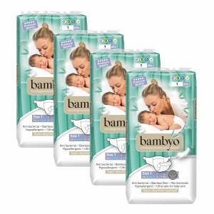 Bambyo Bamboe Wegwerpluiers maat 1 (4 pakken) Voordeelpakket