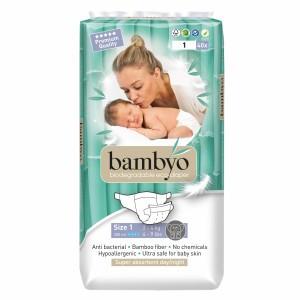 Bambyo Bamboe Wegwerpluiers maat 1 (2-4 kg)