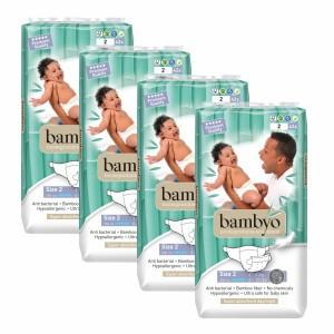 Bambyo Bamboe Wegwerpluiers maat 2 (4 pakken) Voordeelpakket