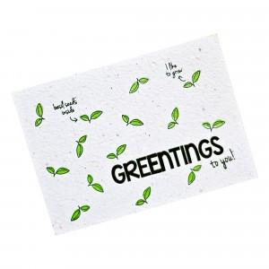 """Bloom Your Message Postkaart Basil """"Greentings"""""""