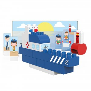 Biobuddi Bouwblokken Town Politieboot