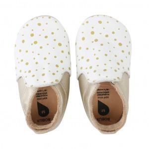 Bobux Soft Soles Trims Loafer Wit met Gouden Dots