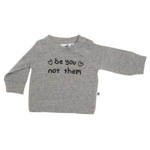 Cos I Said So T-shirt met Lange Mouwen 'Be You Not Them' Grey Melange