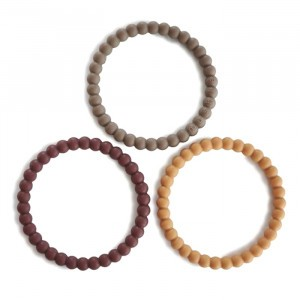 Mushie Silicone Bijtring Bracelet (3-pack) Berry/Marigold/Khaki
