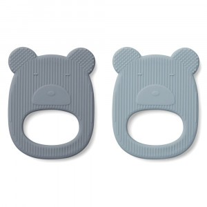 Liewood Silicone Bijtring Duo Mr Bear Blue Mix