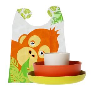 Biobu Bambino Kinder Eetset Orang Oetan wit, oranje, lime