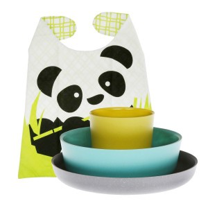 Biobu Bambino Kinder Eetset Panda grijs, blauw, groen