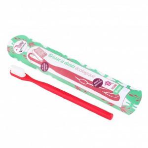 Lamazuna Tandenborstel met vervangbaar borsteltje - Medium Rood