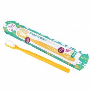 Lamazuna Tandenborstel met vervangbaar borsteltje - Medium Geel