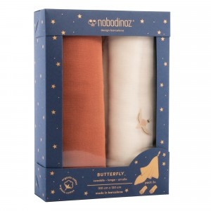 Nobodinoz Tetradoek (2-pack) Butterfly Swaddles Toffee