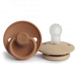 Frigg Fopspeen Fysiologisch Silicone 0-6 maanden (2-pack) Cappuccino/Croissant