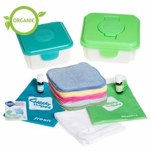 Cheeky Wipes Kit Maxi met Gekleurde Organisch Katoenen Doekjes