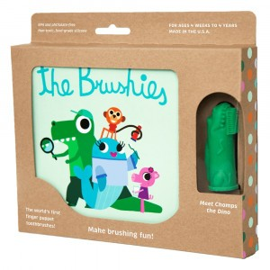 The Brushies Set Boek + Vingertandenborstel 'Meet Chomps The Dino'