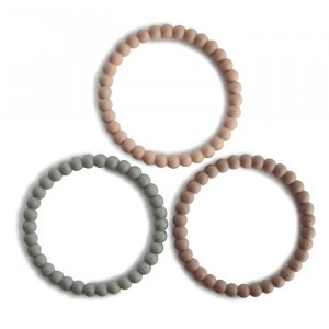 Mushie Silicone Bijtring Bracelet (3-pack) Clary Sage/Tuscany/Desert Sand