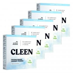 Cleen Coconut-Based Geconcentreerd Waspoeder 5-pack (175 wasbeurten)