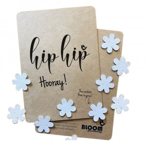 "Bloom Your Message Postkaart Confetti ""Hip Hip Hooray"""