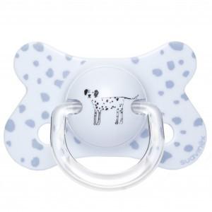 Suavinex Fopspeen Fusion Fysiologisch Silicone +4 maand Dalmatier Blauw