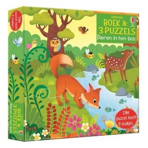 Usborne Boek & 3 Puzzels - Dieren in het bos (9 stukjes)