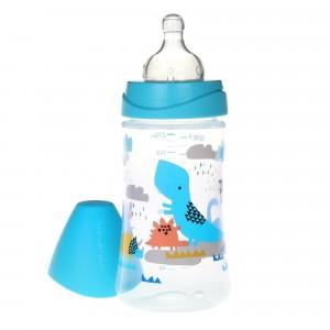 Suavinex Fles 3 Posities Silicone 270 ml The Dinos Aqua