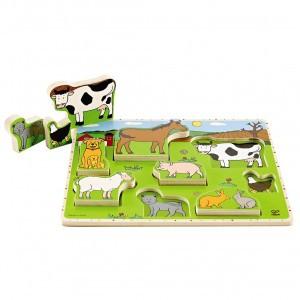 Hape Puzzel en Speel Boerderijdieren (9 stukken)