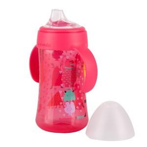 Suavinex Fles met handgrepen +4 maand 270ml Booo! Roze