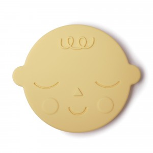 Mushie Silicone Bijtring Face Banana Cream