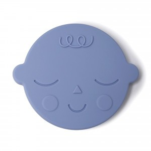 Mushie Silicone Bijtring Face Blueberry